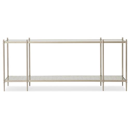Caracole Perfection Modern Classic Silver Metal Console Table | Kathy Kuo Home