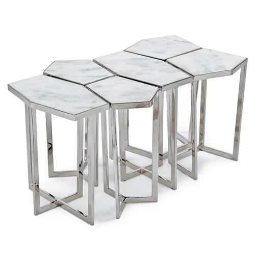 White Marble Coffee Table Set: Eastwood Hollywood Regency White Marble Silver Puzzle