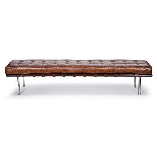 Regina Andrew Vintage Mid Century Tufted Brown Leather Bench | Kathy Kuo Home