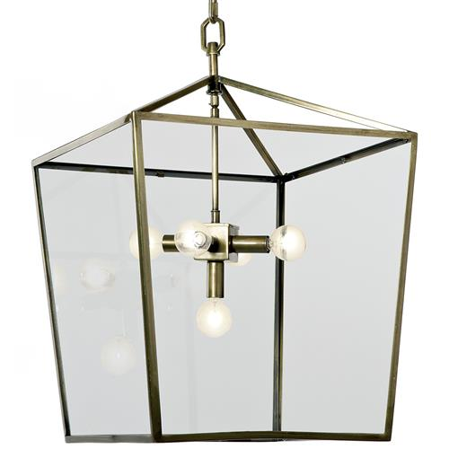 Barth Industrial Loft Brass Glass  Pentagon Pendant Lantern | Kathy Kuo Home