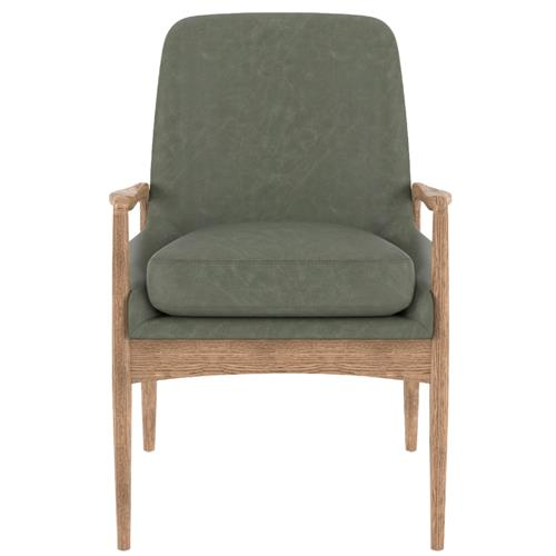 Olena Mid Century Modern Green Leather Sculpted Oak Wood Dining Arm Chair | Kathy Kuo Home