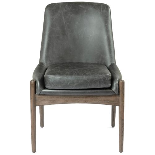 Olena Mid Century Modern Black Leather Sculpted Nettle Wood Dining Chair | Kathy Kuo Home