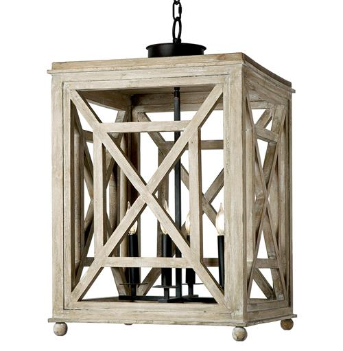 Regina Andrew Wood Coastal Beach Weathered White Wood Lantern Pendant | Kathy Kuo Home