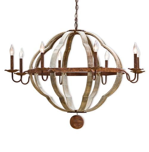 Redford Rustic Lodge Wood 8 Light Quatrefoil Chandelier | Kathy Kuo Home