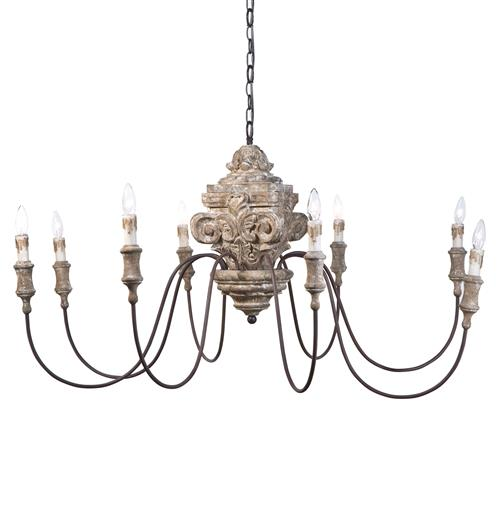 Regina Andrew Antique French Country Carved Wood 8 Light Chandelier | Kathy Kuo Home