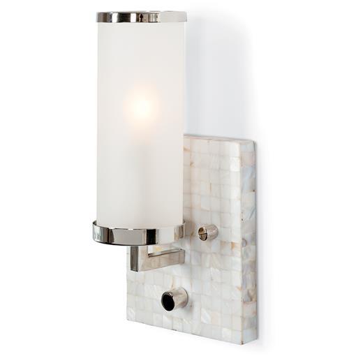 Bathroom Vanities Regina: Ilsa Coastal Beach Mother Of Pearl Mosaic Ivory Wall Sconce