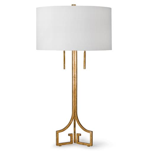 Regina Andrew Le Hollywood Regency Linen Gold Leaf Table Lamp | Kathy Kuo Home