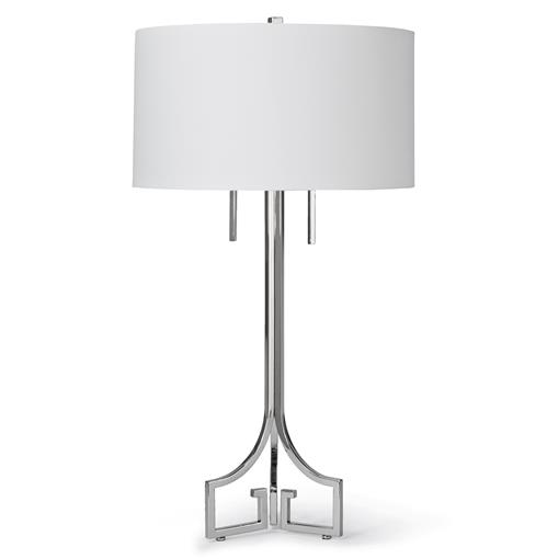 Tandy Hollywood Regency Linen Silver Table Lamp | Kathy Kuo Home