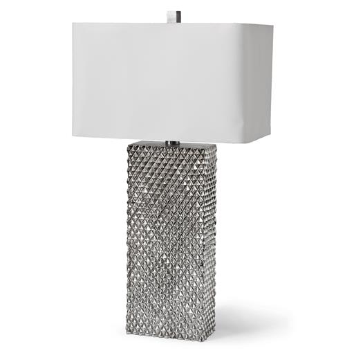Vonetta Hollywood Regency Diamond Silver Table Lamp | Kathy Kuo Home