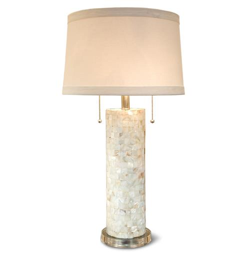 Sarasota Coastal Beach Mother of Pearl Acrylic Table Lamp | Kathy Kuo Home