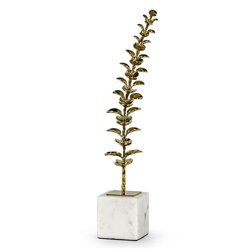 Palecek Eucalyptus Leaf Hollywood Regency Gold Metal Faux Floral - Small | Kathy Kuo Home