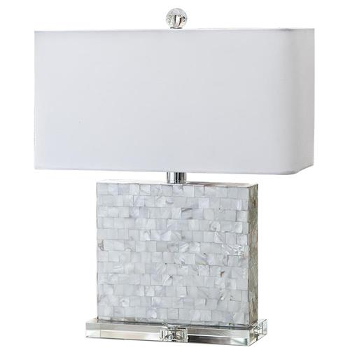 Regina Andrew Horizontal Coastal Beach Mother of Pearl Square Table Lamp | Kathy Kuo Home