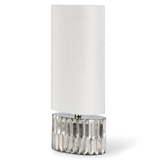 Sondra Hollywood Regency Silver Oval Pleat Table Lamp