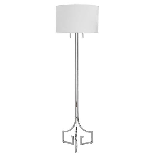 Tandy Hollywood Regency Linen Silver Floor Lamp | Kathy Kuo Home
