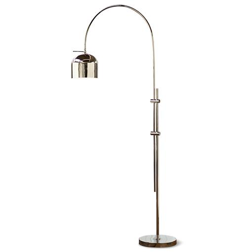Tobias Modern Silver Metal Arc Floor Lamp | Kathy Kuo Home