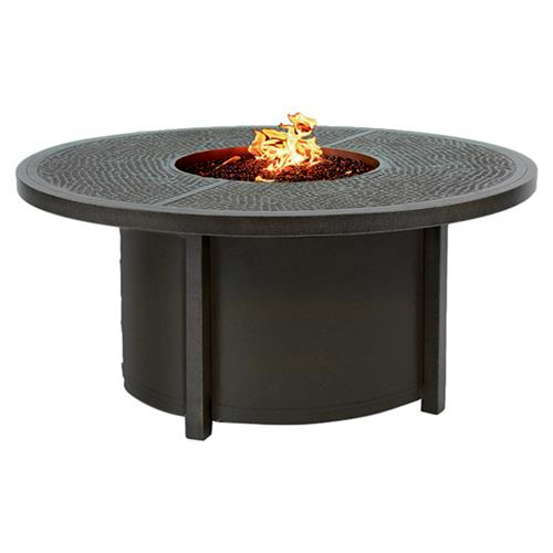 Castelle Altra Industrial Loft Black Aluminum Round Outdoor Firepit Coffee Table | Kathy Kuo Home