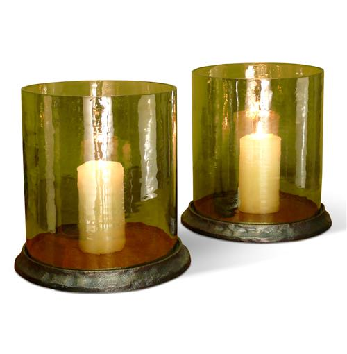 Pair Oak Valley Amber Glass Rustic Hurricane Candle Holders | Kathy Kuo Home