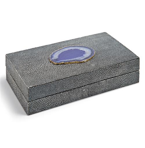 Destin Coastal Beach Charcoal Faux Shagreen Purple Agate Rectangle Box - 9 Inch | Kathy Kuo Home