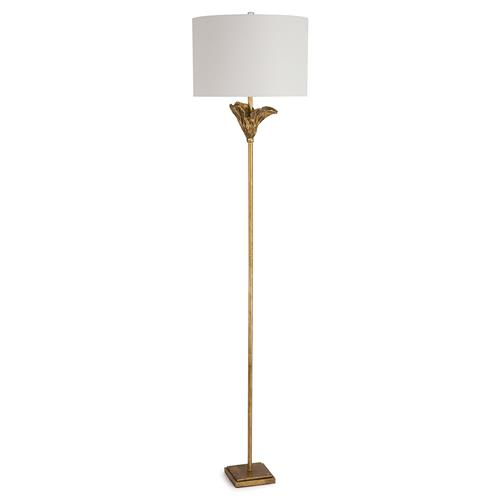 Regina Andrew Monet Modern Classic Antique Gold Leaf Steel Floor Lamp | Kathy Kuo Home