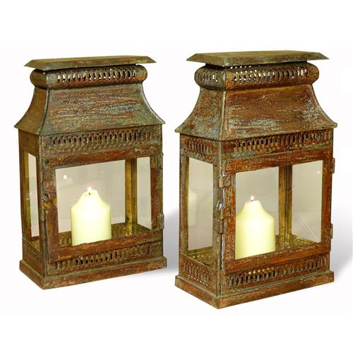Pair Asmara Antique Verdi Rustic Iron and Glass Candle Lanterns | Kathy Kuo Home