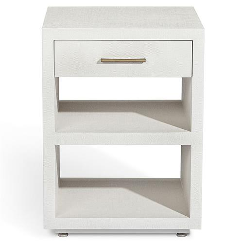 Interlude Livia Modern Classic White Linen Textured 1 Drawer Wood Nightstand Narrow Under 21 W Kathy Kuo Home