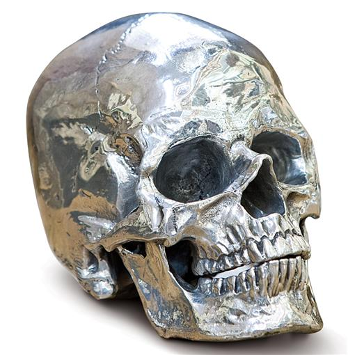 Regina Andrew Metal Industrial Loft Polished Nickel Metal Skull | Kathy Kuo Home