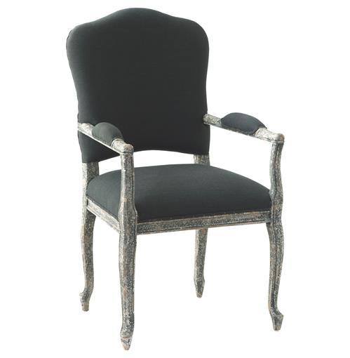 Perret French Country Slate Distressed Grey Dining Arm Chair Kathy Kuo Home