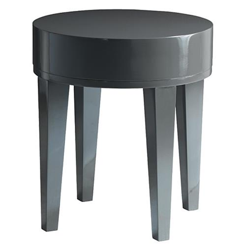 Garmond Modern Charcoal Grey Lacquer Round Small Side Table | Kathy Kuo Home