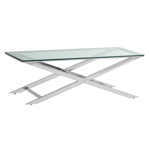 Silver Metal And Glass Coffee Table: Davis Modern Hollywood Regency Silver Metal Glass Coffee