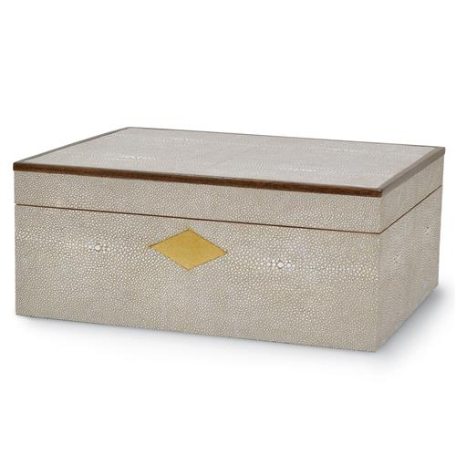 Palecek Shagreen Taupe Shagreen Hollywood Regency Box | Kathy Kuo Home