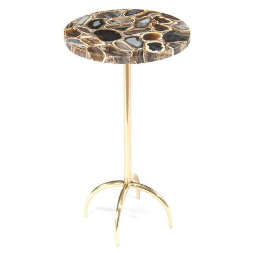 John-Richard Modern Classic Grey Agate Gold Steel Martini Table | Kathy Kuo Home