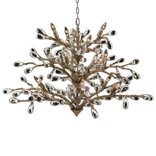 John-Richard Budding Crystal Hollywood Regency Gold Iron 16 Light Chandelier | Kathy Kuo Home
