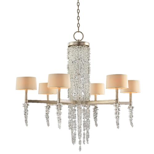 John-Richard Cascading Crystal Waterfall Hollywood Silver Iron 6 Light Chandelier | Kathy Kuo Home
