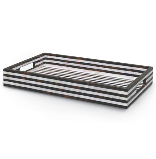 Palecek Black and White Global Bazaar Rectangular Shell Serving Tray | Kathy Kuo Home