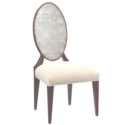 John-Richard Églomisé French Beige Upholstered Seat Brown Wood Dining Armchair | Kathy Kuo Home