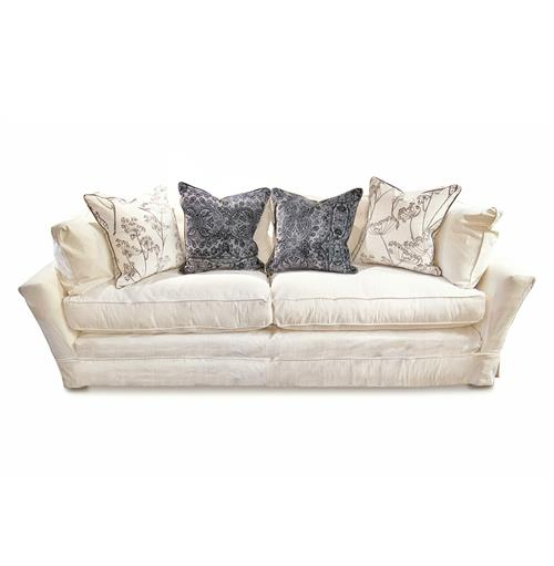 Chenille Skirted Sofa: Dania Modern Coastal Beach White Striped Skirted Sofa