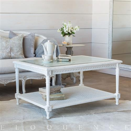 Eloquence Le Courte Coffee Table in Antique White | Kathy Kuo Home