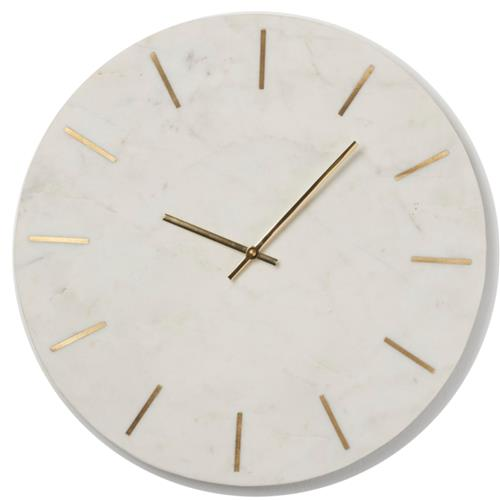 Brynn Modern Classic White Stone Gold Inlay Design Wall Clock Medium 12 24 Kathy Kuo Home