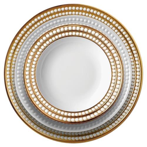 L'Objet Perlee Modern Classic White Porcelain Gold Rim Dinnerware Collection | Kathy Kuo Home