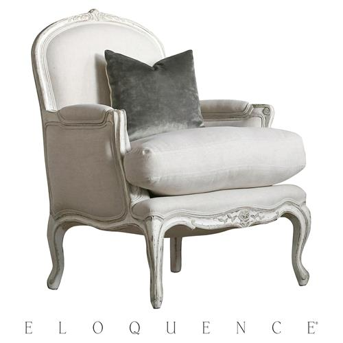Eloquence La Belle Gesso Oyster Highlight Accent Bergere ArmAccent Chair | Kathy Kuo Home