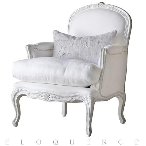 Eloquence La Belle Accent Bergere in Silver Antique White Two-Tone | Kathy Kuo Home