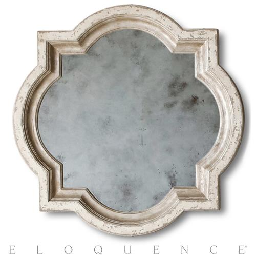 Eloquence® Lyon Mirror in Stone and Silver | Kathy Kuo Home