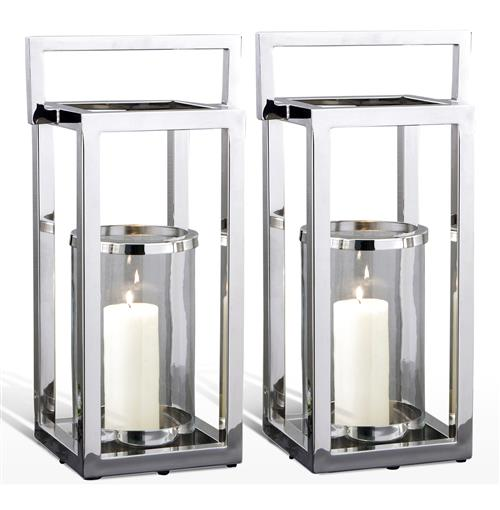 Pair Andalusia Modern Silver Square Candle Lanterns | Kathy Kuo Home