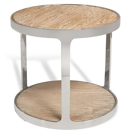 Interlude Soto Industrial Reclaimed Elm Stainless Steel Round Side Table | Kathy Kuo Home