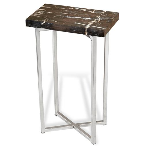 Interlude Argo Modern Rustic Petrified Wood Rectangular Side Table | Kathy Kuo Home