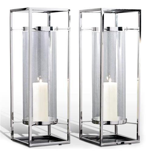 Pair Adour Silver Glass Modern Square Tall Hurricane Candle Holders | Kathy Kuo Home