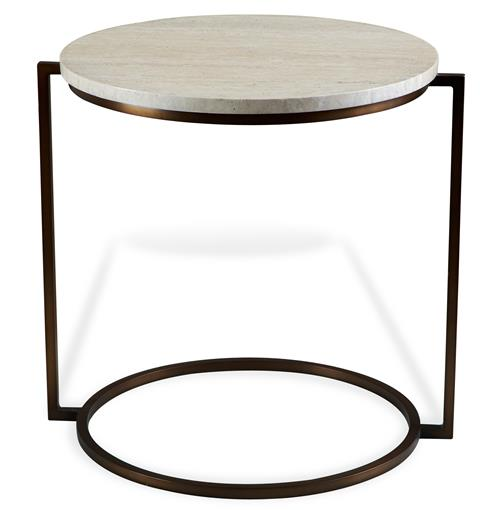 Bauhaus Cream Travertine Round Side End Table | Kathy Kuo Home