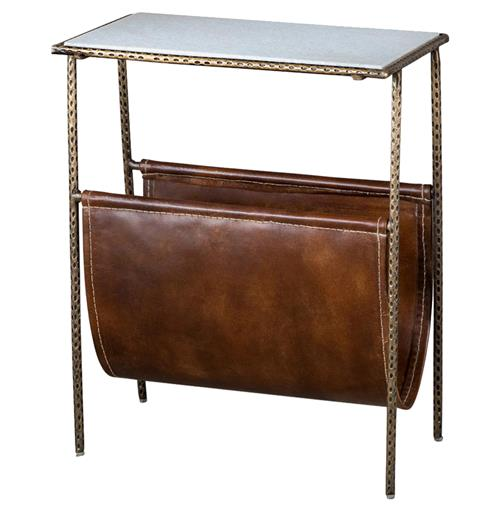 Interlude Strauss Industrial Loft Magazine Holder Side End Table | Kathy Kuo Home