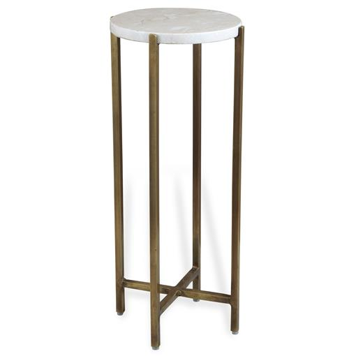 Zahara Round Ivory Marble Side Table | Kathy Kuo Home