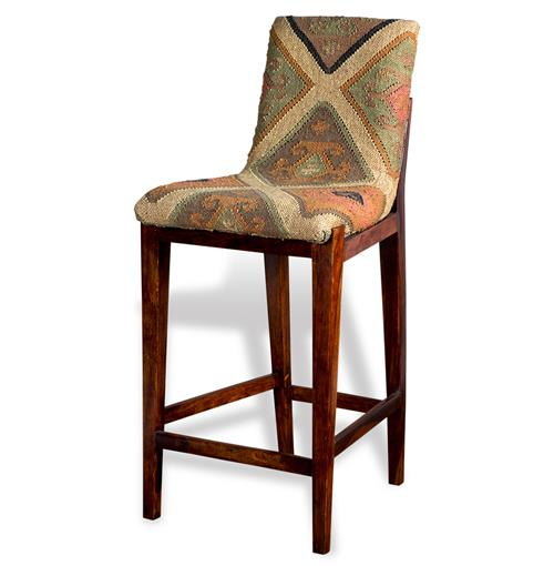 Mika Rustic Lodge Kilim Upholstered Bar Stool With Back